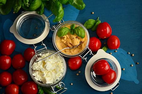 tomàquets, formatge feta, alfàbrega, Mediterrània, Frisch, Sa, formatge