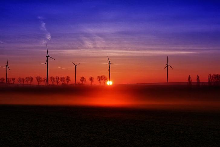 salida del sol, Windräder, Estado de ánimo, cielos, paisaje, morgenrot