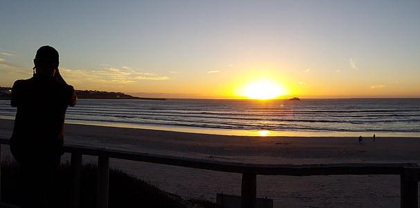 apus de soare, plajă, plaja apus de soare, apa, cer, mare, peisaj