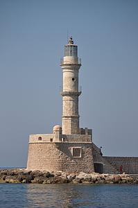 Lighthouse, Kreta, hamn, Medelhavet, havsutsikt, hamninloppet, fartyg