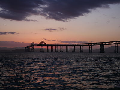 california, bridge, sunset