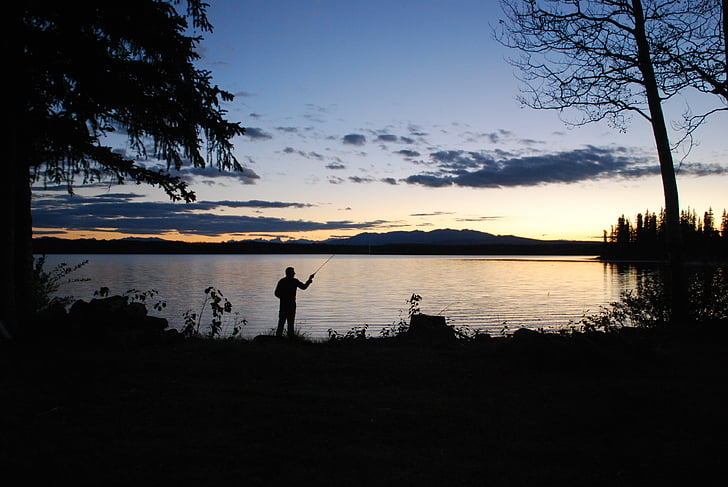 abendstimmung, 호수, 일몰, 물고기, 물, 캐나다, 낚시꾼