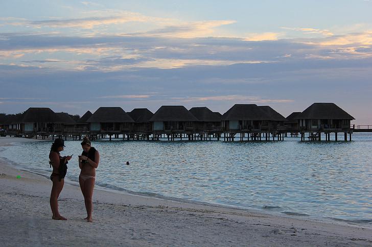 beach, sunset, maldives