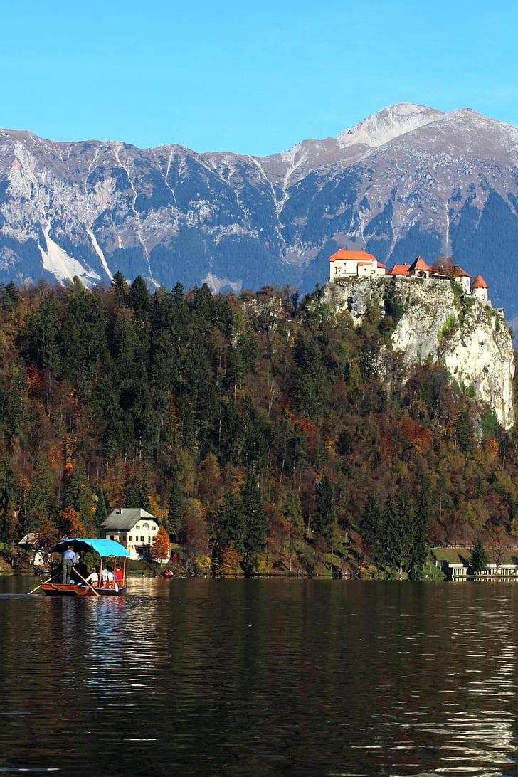 bled, pletna, scenery, castle, mountain, landscape