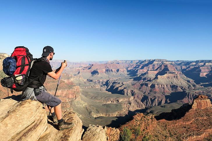 mannen, sitter, brun, Rock, Mountain, dagtid, naturen