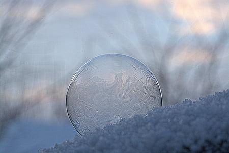 soap bubble, ze, frozen, frozen bubble, frost, structure, bubble