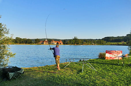 peix, pescador, Llac, Fischer, l'aigua, canya de pescar, pesca