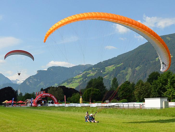 paragliding, Zillertal, Østrig, tandem spring, bjerge, Dream day