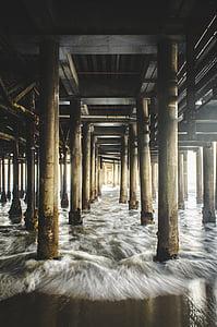 Pier, brygge, bølger, stranden, sand, tre, innlegg