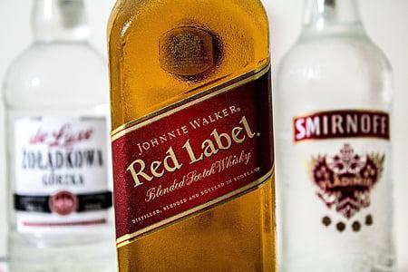 red, label, alcohol, vodka, whiskey, johnny, walker
