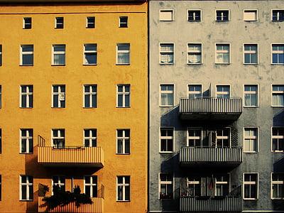 kuning, abu-abu, dicat, bangunan, rumah, Apartemen, Windows