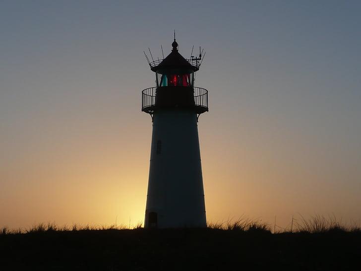 Зільт, маяк, Захід сонця, краєвид, abendstimmung, узбережжя, сонячне світло