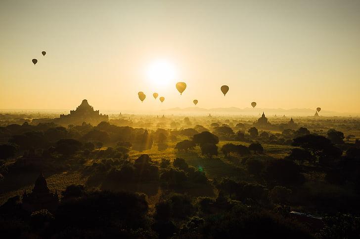 Bagan, Mjanmarsko, Barma, Cestovanie, chrám, budhizmus, teplovzdušný balón