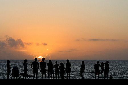 sunset, sea, beach, ocean, fun, people, vacation