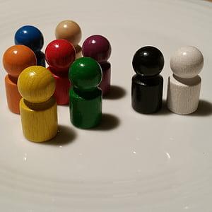 jugar pedra, fusta, negre, blanc, colors, joguines, nens