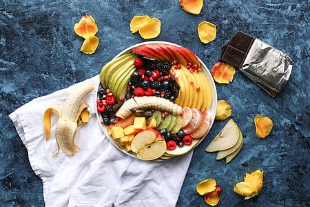 banaan, Apple, Mango, magustoit, toidu, maiustused, puuviljad