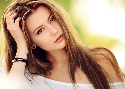 dona, noia, bellesa, Ros, polsera, cara, Retrat