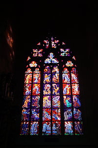 finestra di vetro macchiata, colori, luci, arte sacra, Chiesa, Cattedrale, vetro