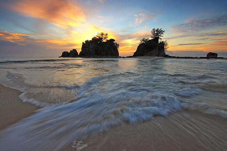 soluppgång, rörelse, landmärke, Utomhus, landskap, resor, stranden