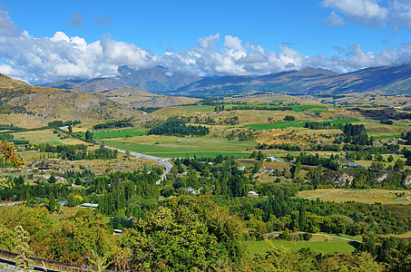 maastik, Uus-Meremaa, uue, mägi, pilve, loodus