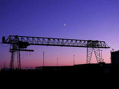 Lluna, silueta, ambient, nit, llum de lluna, abendstimmung, nit