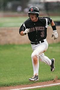 beisbol, corredor, corrent, acció, puntuació, jugador, atleta