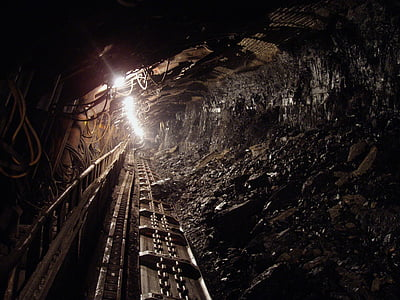 kol, svart, mineral, underground, Mine, gruvarbetare, produktion