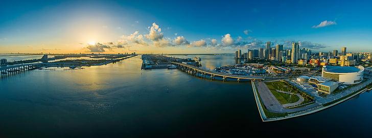 Panorama, Miami, Florida, vatten, USA, staden, skyskrapa