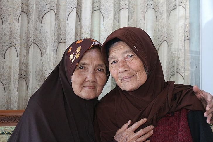 àvia, mare, vell, cara, persones, Retrat, femella