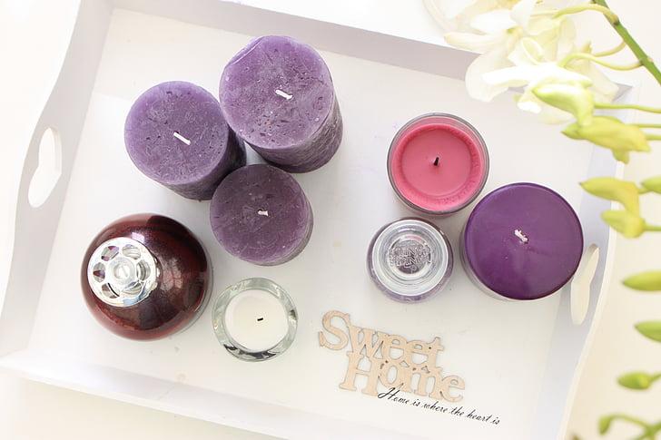 stearinlys, stearinlys, interiør, Live, planter, Fragrance lampe