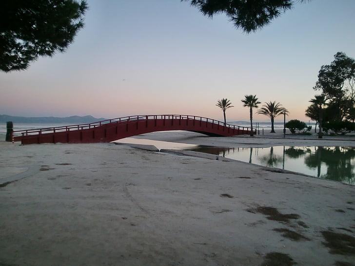 γέφυρα, Ποταμός, δημιουργία ειδώλου, φοίνικες, στη θάλασσα, κατηγοριοποίηση, abendstimmung
