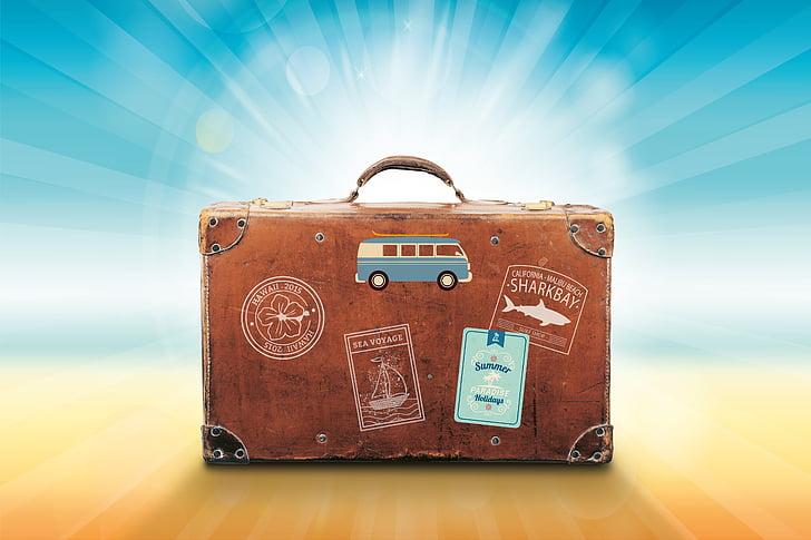 equipatge, vacances, viatges, l'estiu, Mar, sol, recuperació