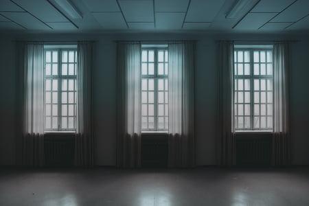 Architektura, budynek, zasłony, pusty, systemu Windows, okno, pomieszczeniu