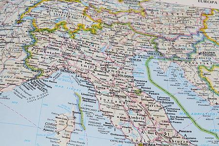 Itàlia, nord d'Itàlia, central i del nord d'Itàlia, mapa, Geografia, gràfics, Cartografia