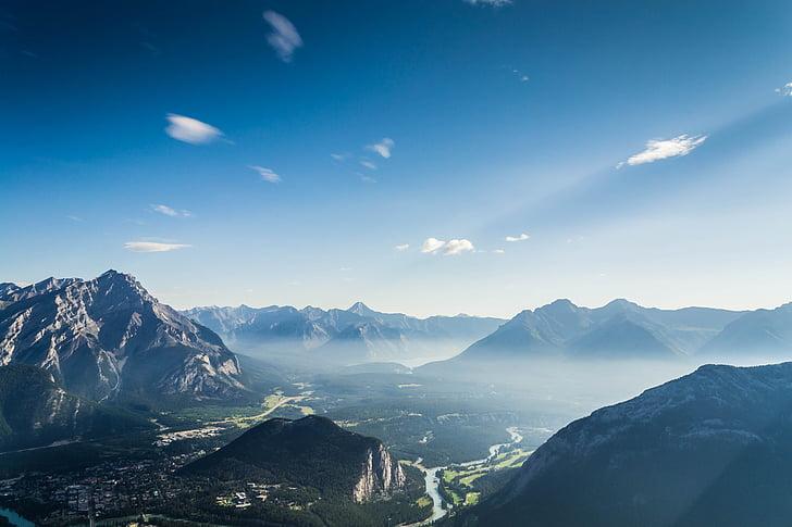 Natura, góry, dym, mgła, niebieski, niebo, rzek