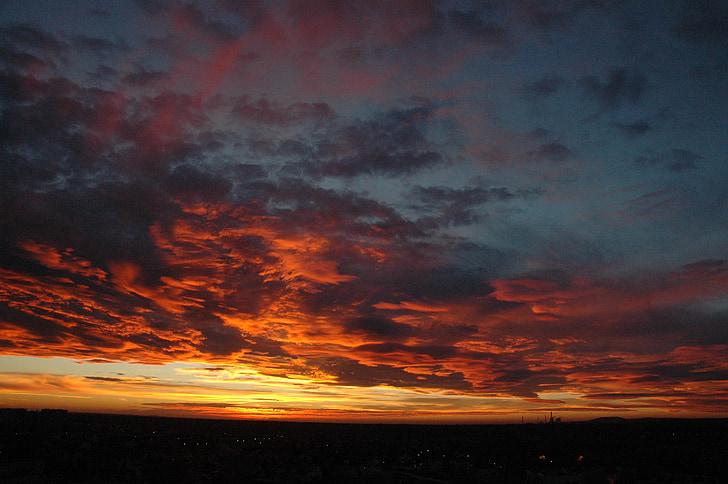 dangus, debesys, Saulė, Debesuotumas, Saulėlydis, Vakarų, Gamta