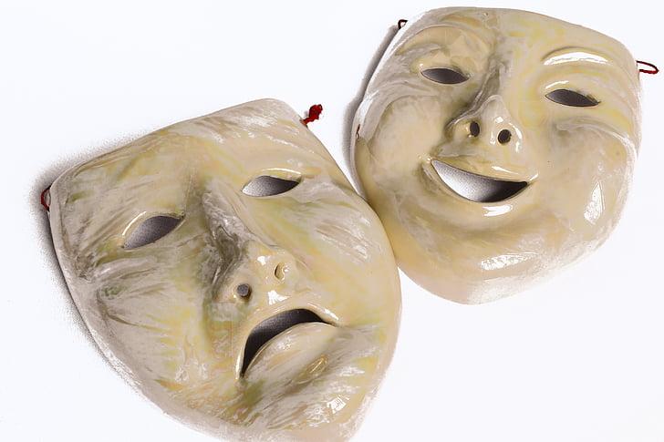 mặt nạ, cảm xúc, trạng thái của tâm, niềm vui và nỗi buồn, sứ, Carnival, khuôn mặt người