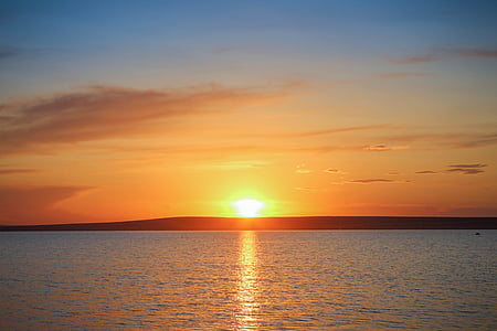 вечерта, залез, природата, лято, море, залез небето, слънце