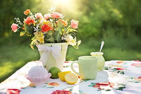 Bodegó d'estiu, jardí, a l'exterior, flors en olla, pati d'estiu, flor, l'estiu