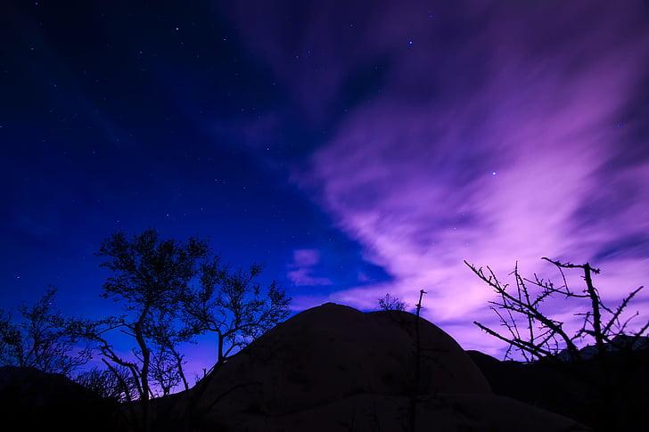 night, evening, stars, hills, silhouettes, beautiful, sky