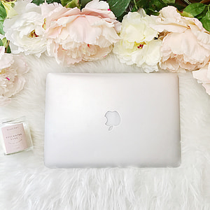 macbook, laptop, peonies, overhead, business, flower