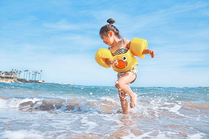 beach, child, enjoyment, fun, joy, leisure, ocean