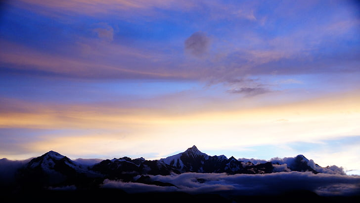 montanha, natureza, nuvem, pôr do sol, neve, Inverno, scenics