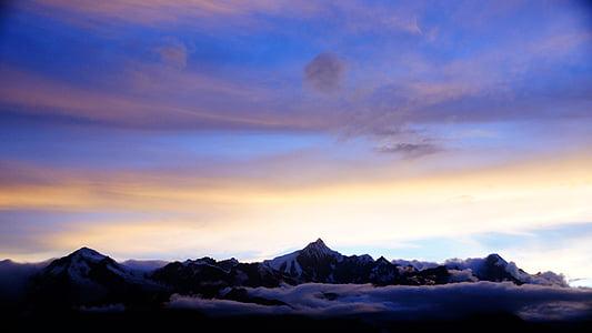 muntanya, natura, núvol, posta de sol, neu, l'hivern, representacions