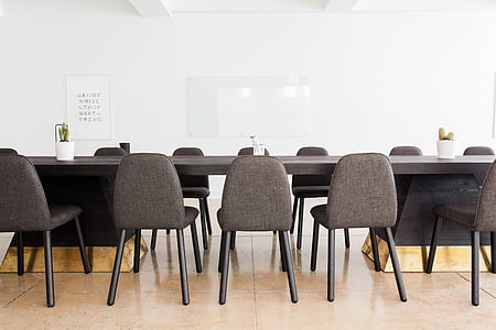 gray, wooden, conference, table, workspace, office space, chair