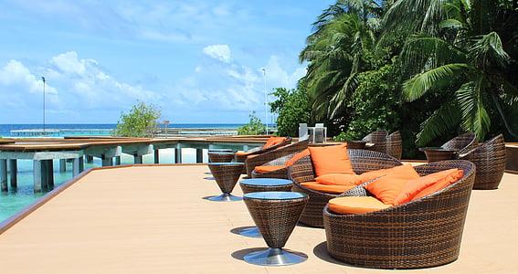 Maldive, vacanta, vara, mare, Palm, vacanţă de vis, cer