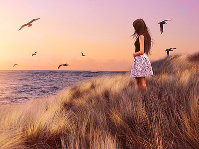 момичета, MS, море, България, Чайка, птица, Черно море