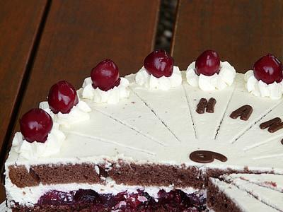 black forest cake, cherries, cream, cake, gate, cutting of, piece of pie