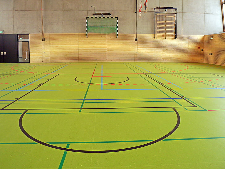 sporta zāle, daudzfunkcionālā zāle, trenažieru zāle, ieplīsis grīdas, Tags, ierīces, handbola mērķis