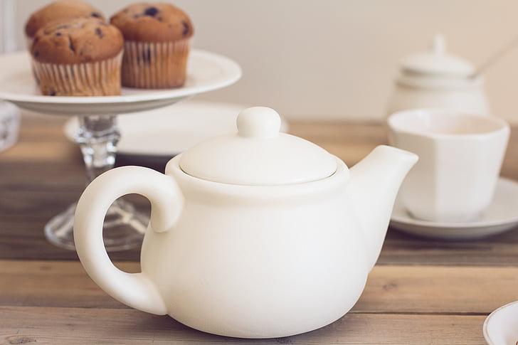 tea party, teapot, tea, muffins, tea - Hot Drink, cup, food